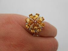 Large DESIGNER 14k Gold Natural Citrine Garnet & Diamond Cocktail Ring Sz 8.5