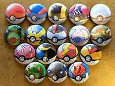 "Set of 17 1"" Pokemon Pokeballs Button Pinbacks"