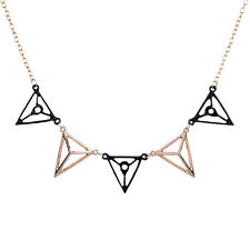 New Punk Black Gold Plated Hollow Triangle Lobster Clasp Pendant Chain Necklace