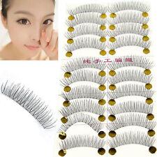 HOT 20Pcs Handmade Women Ladies Black Fake False Eyelash Transparent Stem Lashes