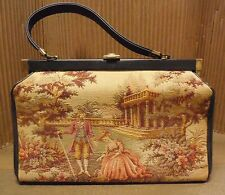 Vintage VERDI Embroidered Tapestry Lovers Scene Purse Handbag Carpet Bag