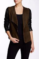 VINCE 2 Tone OAK BLACK SCUBA Suede & Leather Drape Front Jacket V135290741 M NWT