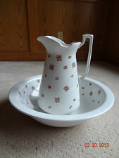Vintage Antique Ironstone Wash Basin and Matching Pitcher Pink Roses LARGE