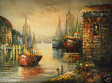 "Oil Painting on Canvas 30""x 40""- Cloudy Harbor"