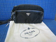 AUTHENTIC $565 PRADA Black Nylon Leather Trim Waist Bag Fanny Pack