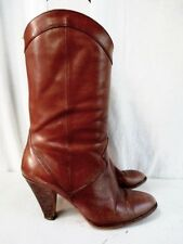 Vtg Womens NINE WEST Leather Gogo BOOTS Shoes Hipster Boho BROWN 7