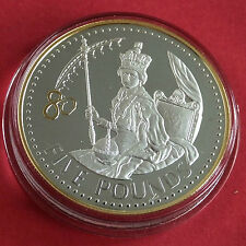 ALDERNEY 2006 QEII 80th BIRTHDAY SILVER PROOF £5 CROWN WITH .999 GOLD PLATING