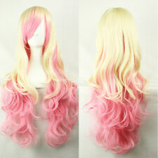 "28"" Ombre Pink Party Cosplay Wig Long Wave Synthetic Hair Women's Yellow Wig"