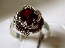 1.50ct natural red garnet flower antique 925 sterling silver ring size 9 USA