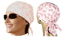 PINK RIBBON Du DO DOO RAG FITTED Tied BANDANA Hav-A-Danna Skull Head Wrap Cap