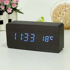 Black Wooden Digital Blue LED Alarm Modern Clock Calendar Thermometer USB/AAA
