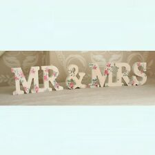 Mr & Mrs Wedding Gift White Wooden Letter Lady Jeanne Sign Decoration Table Top
