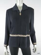 ST JOHN 10 M Black Knit Zip Front Metallic Gold Chain Detail Jacket Sweater EUC
