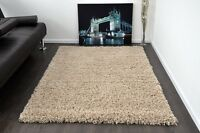 Beige Small X Large Modern Plain 5cm Shaggy Rugs Thick Soft Pile Area Rug Mats