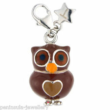 Tingle Brown Owl Sterling Silver clip on Charm with Gift Box and Bag SCH197