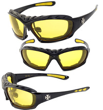 Night Driving Riding Padded Motorcycle Glasses -  Black Frame Yellow Lens C49