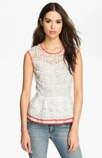 NEW Pure Sugar Sheer Floral White Sleeveless Peplum Top Anthropology Size M  c3