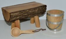 KIRSTEN WOOD SCHOOL BENCH~PAIL~LADLE! RETIRED AMERICAN GIRL! WATER BUCKET~WOODEN