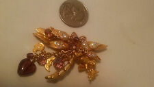Kirks Folly Dragonfly, Cherub Rider, Butterflies, & Charms Brooch Pin