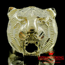 MEN'S NEW 10K SOLID YELLOW GOLD ROARING LION HEAD NUGGET RING BAND 8.2 GRAM SZ10