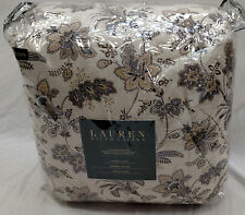 $400 Ralph Lauren Jacobean Floral Tan Gray Queen Comforter 4 pc Set  NEW