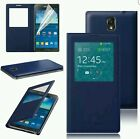S-VIEW NAVY LEATHER FLIP CASE BATTERY COVER FOR ALL SAMSUNG GALAXY MOBILE PHONES
