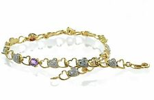 Gold Over 925 Sterling Silver Multi-gemstone & Diamond Accent Heart Bracelet