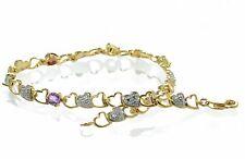 Gold Over 925 Sterling Silver Multi-gemstone & Diamond Accent Heart Bracelet