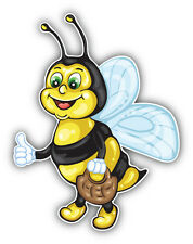 Funny Bee Cartoon Car Bumper Sticker Decal 4'' x 5''
