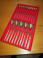 KOREAN SUSHI DINING SET IN RED VELVET BOX 5 SETTINGS FORKS CHOPSTICKS & SPOONS