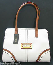 NEW-GUESS MADERA WHITE+BROWN TRIM+GOLD TONE HARDWARE SHOULDER HAND BAG,PURSE