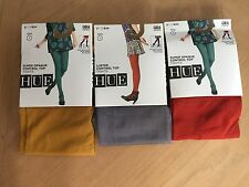 NEW (3) HUE Womens Tights, Super Opaque/Luster, Red/Gray/Yellow Size 1