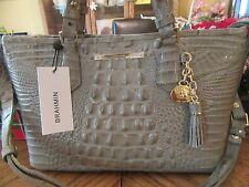 BRAHMIN SILVER SAGE CROCO LEATHER MINI ASHER TOTE SATCHEL PURSE NEW $235