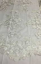 Off White Lavish 3D Flowered Embroider With Sequins And Beaded On A Mesh Lace-yd