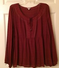 Sonoma Size Large NWT Embroidered Spice Red Peasant Blouse Top