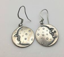 Silver Tone Moon Face Celestial Earrings  e49