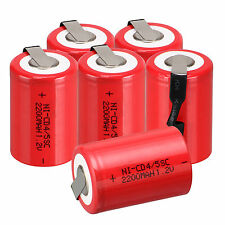 Lot of 6pcs NiCd 4/5 SubC Sub C 1.2V 2200mAh Ni-Cd Rechargeable Battery &Tab Red