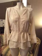 Rebecca Taylor Ivory Peasant Silk Blouse Top Shirt Size 8