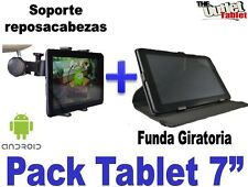 "PACK FUNDA GIRATORIA PARA TABLET AIRIS PHONEPAD 7AG 7"" + SOPORTE REPOSACABEZAS"