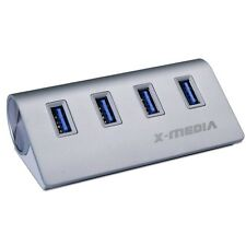 X-Media XM-UB3004A Aluminum 4-Port SuperSpeed USB 3.0 Hub w/AC Adapter NEW