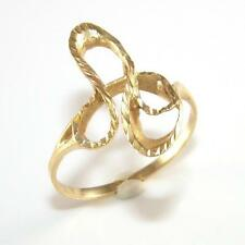 14K Yellow Gold Modernist Abstract Scroll Band Ring Size 9 QZ