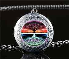 Live Tree Of Life Cabochon Glass Tibet Silver Locket Pendant Necklace#AE22