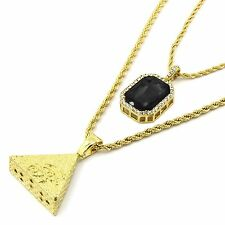 Mens 14k Gold Plated Eye of Horus Pyramid & Black Cz Rope Chain (3mm24 4mm30)