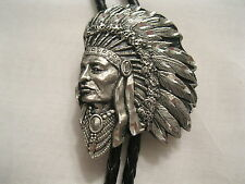 Cowboy Western  Bolo Tie #76 - Indian Chief - Pewter