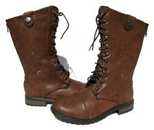 New Women's Fashion Lace Up Riding Boots Brown winter snow Ladies shoes size 10