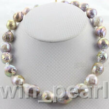 AAA+ 15-20MM LAVENDER SOUTH SEA BAROQUE KESHI AKOYA PEARL NECKLACE 18""