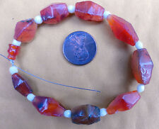 10 Ancient Faceted Carnelian 9 Bi-cone 1 Bevel Beads Indonesia 250BC to 1200AD
