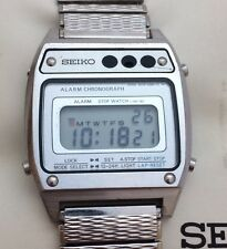 Vintage Seiko A639-5060 Digital Alarm Chronograph Stainless Mens Watch Working