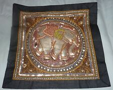 "Hand Made with Beads, Sequins ~ Kalaga Wall Tapestry ~  13.5"" x 13.5"" Elephant"