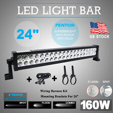 22inch Led Light Bar Philips 160W + Wire Kit + Brackets Works for Jeep Dodge GMC